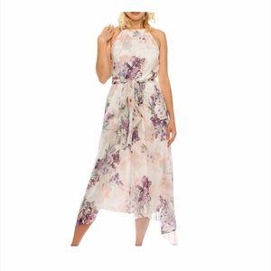 SLNY  Floral Printed Halter Neck High Low  Dress 8